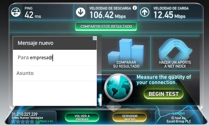 Embou ya ofrece 100 Mbps por fibra óptica