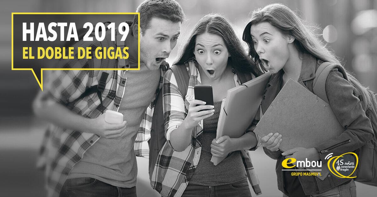 Trae tus líneas móviles a Embou, ahora... ¡GRATIS hasta 2019 con el DOBLE de Gigas!