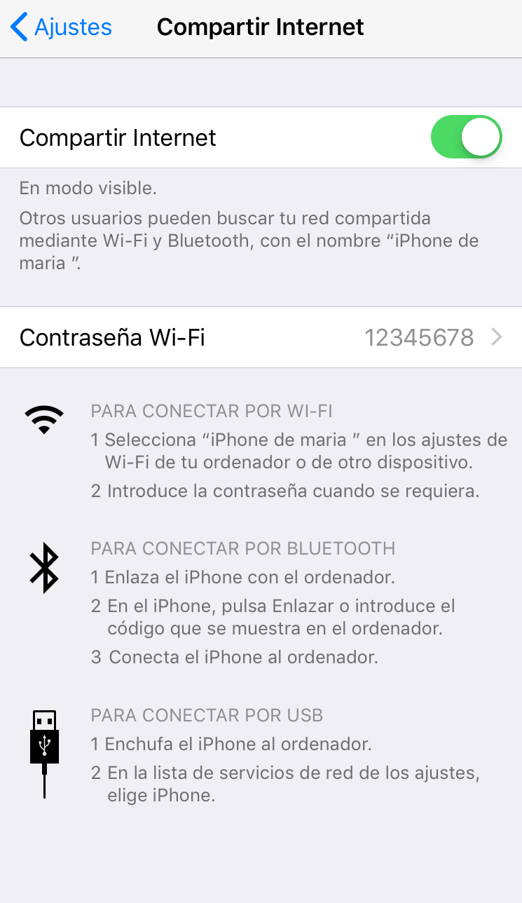 compartir wifi iPhone y utilizar móvil como router